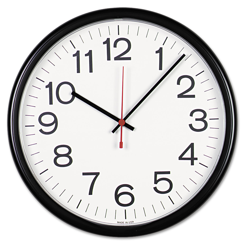 "Indoor/Outdoor Round Wall Clock, 13.5"" Overall Diameter, Black Case, 1 AA (sold separately)"