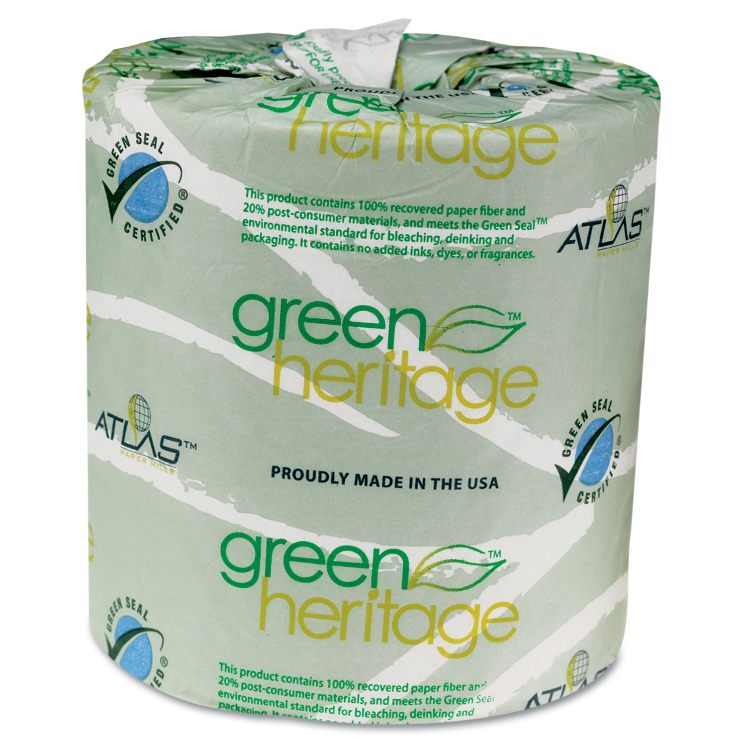 Green Heritage Toilet Tissue, 4.4 x 3.5 Sheets, 2-Ply, 500/Roll, 96 Rolls/CT