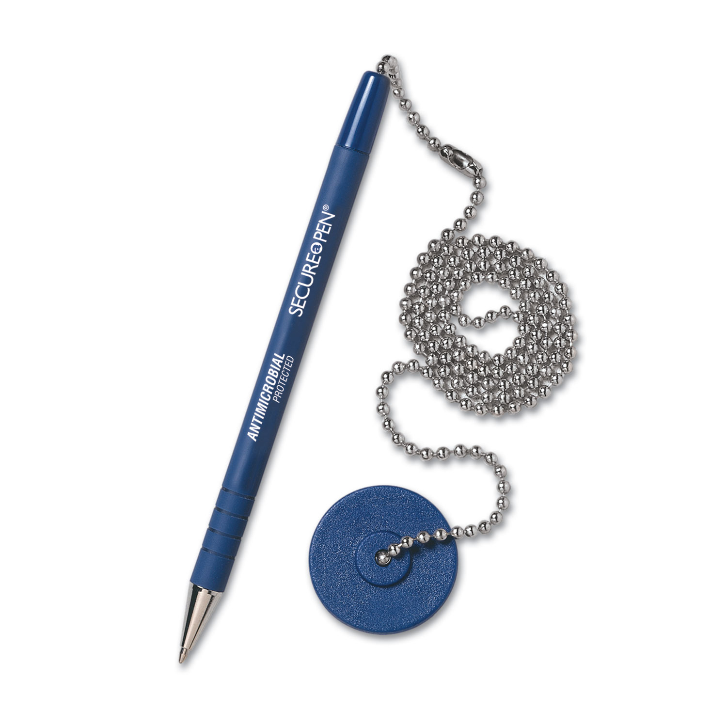 "Secure-A-Pen Antimicrobial Ballpoint Counter Pen Kit with Round Base and 24"" Ball Chain, 1mm, Blue Ink/Barrel"