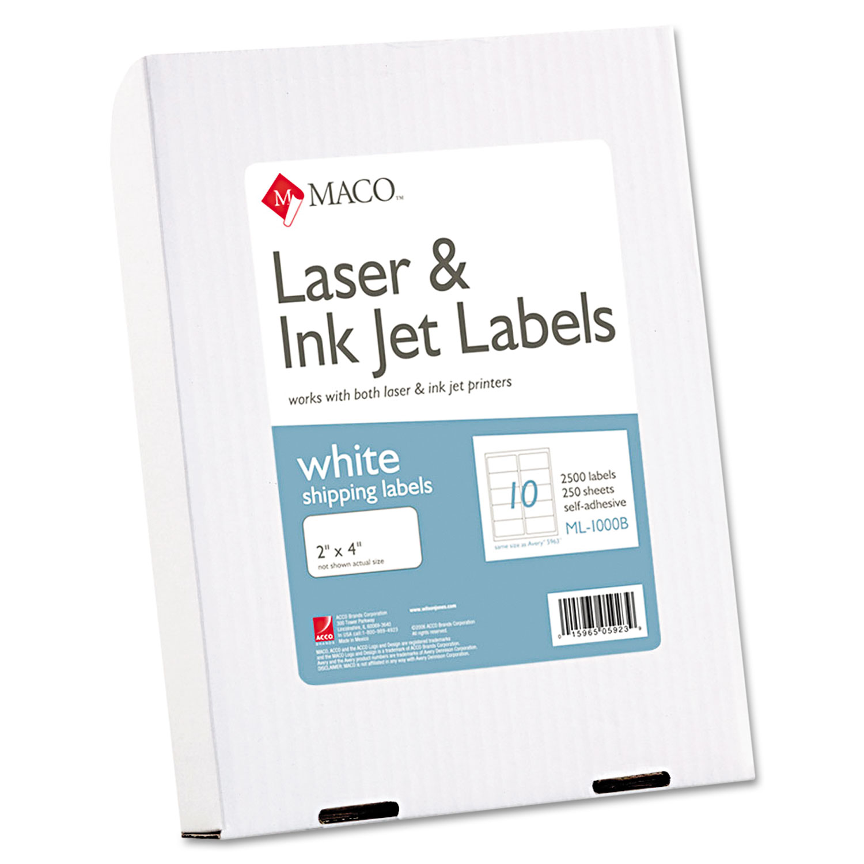 White Laser/Inkjet Shipping and Address Labels, Inkjet/Laser Printers, 2 x 4, White, 10/Sheet, 250 Sheets/Box