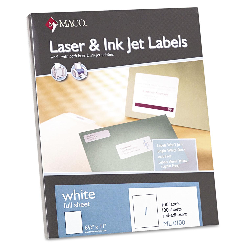 White Laser/Inkjet Full-Sheet Identification Labels, Inkjet/Laser Printers, 8.5 x 11, White, 100/Box