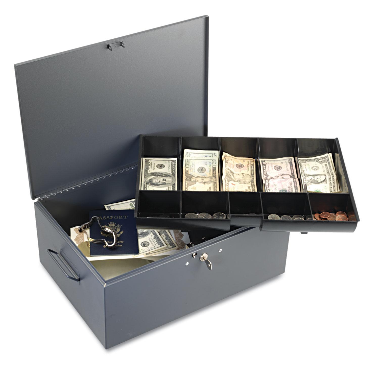 Extra Large Cash Box With Handles Key Lock Gray