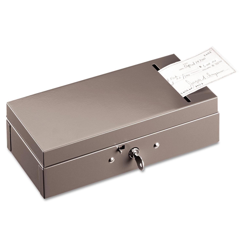 Steel Bond Box with Check Slot, Disc Lock, Gray