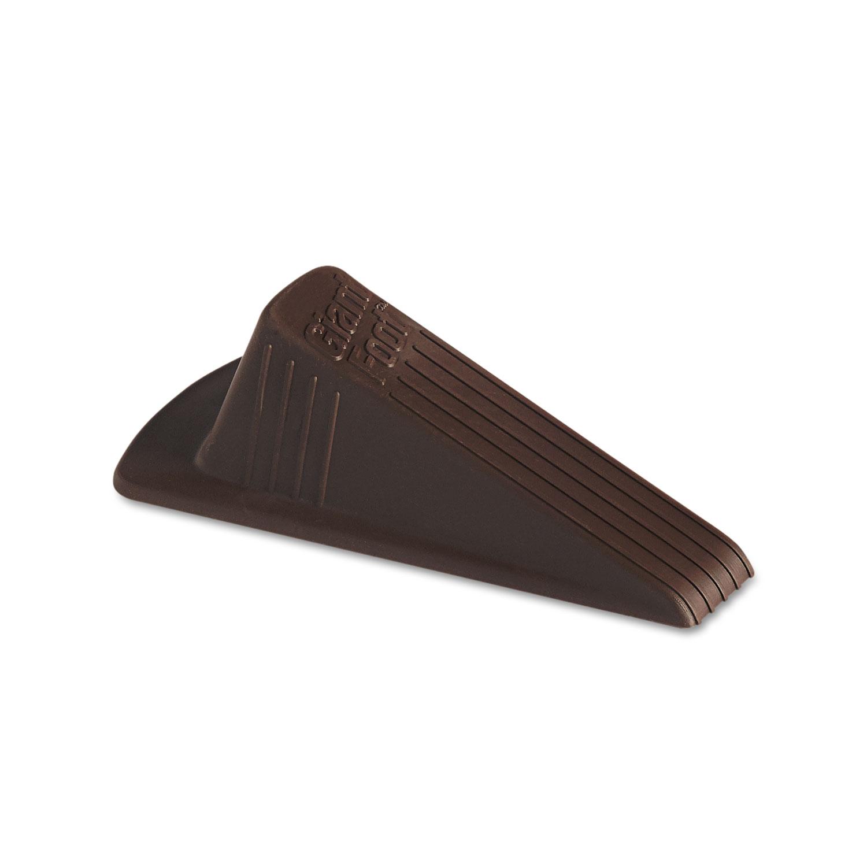 Giant Foot Doorstop, No-Slip Rubber Wedge, 3.5w x 6.75d x 2h, Brown, 2/Pack