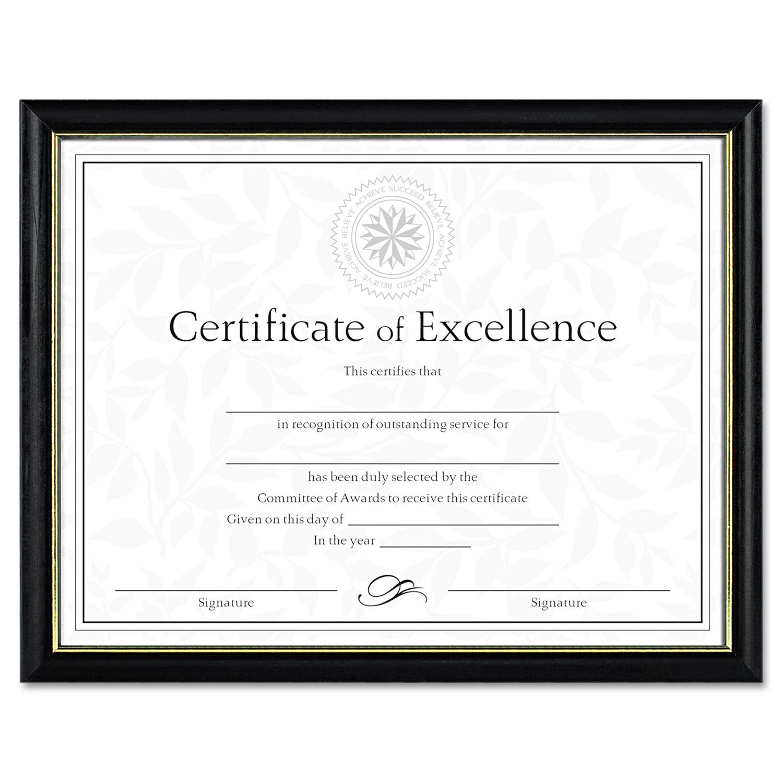 Two-Tone Document/Diploma Frame, Wood, 8 1/2 x 11, Black w/Gold Leaf Trim
