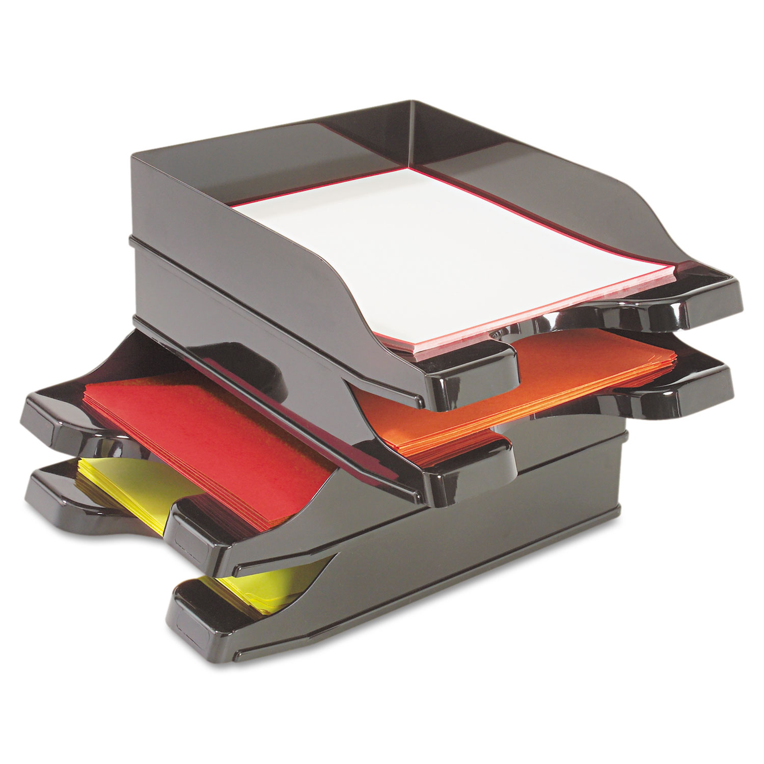 """Docutray Multi-Directional Stacking Tray Set, 2 Sections, Letter to Legal Size Files, 10.13"""" x 13.63"""" x 2.5"""", Black, 2/Pack"""