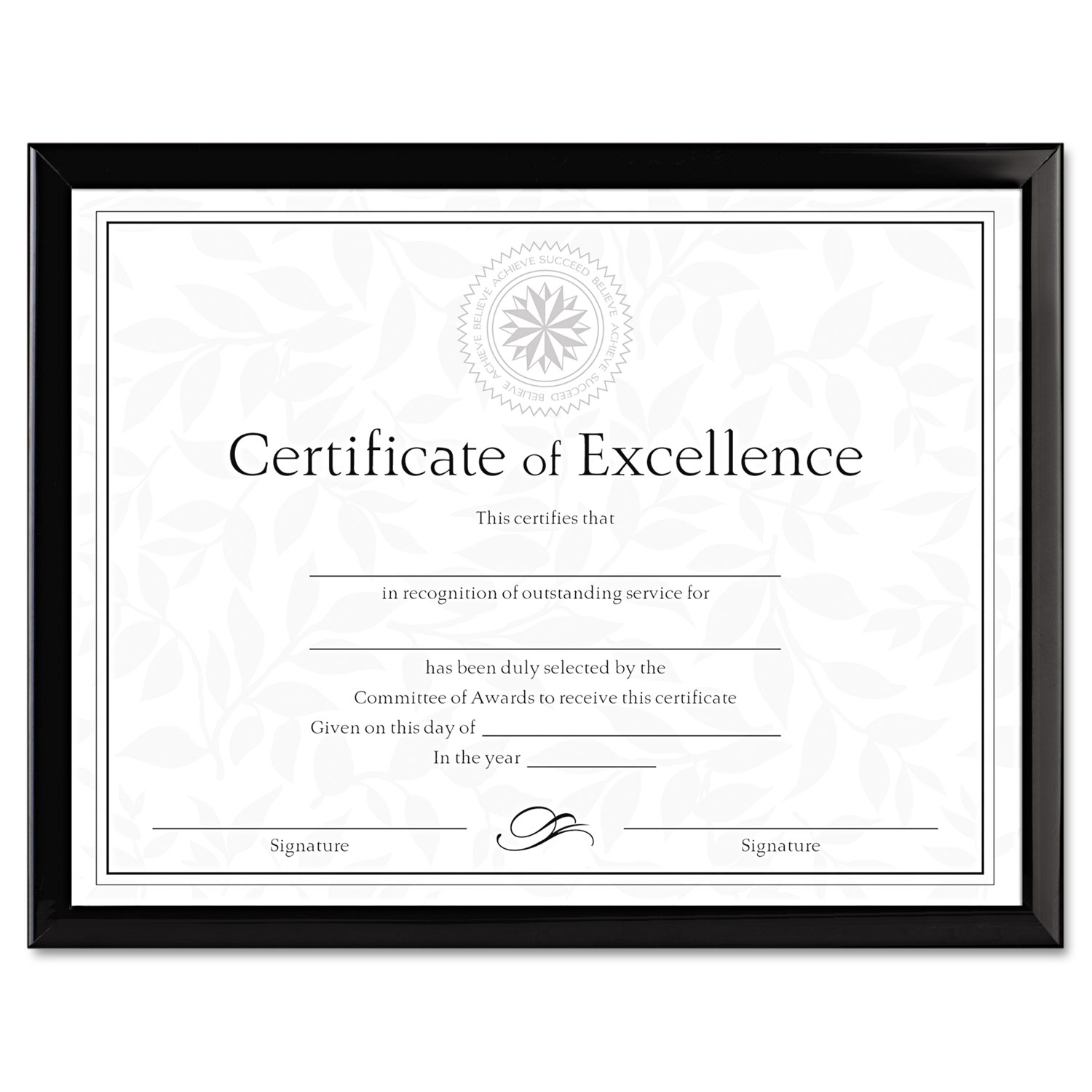 Value U-Channel Document Frame w/Certificates, 8 1/2 x 11, Black