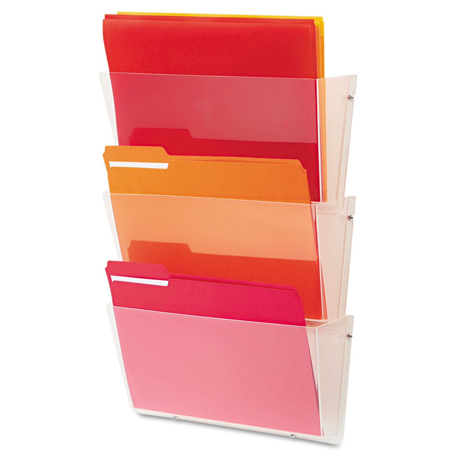 Unbreakable DocuPocket 3-Pocket Wall File, Letter, 14 1/2 x 3 x 6 1/2, Clear