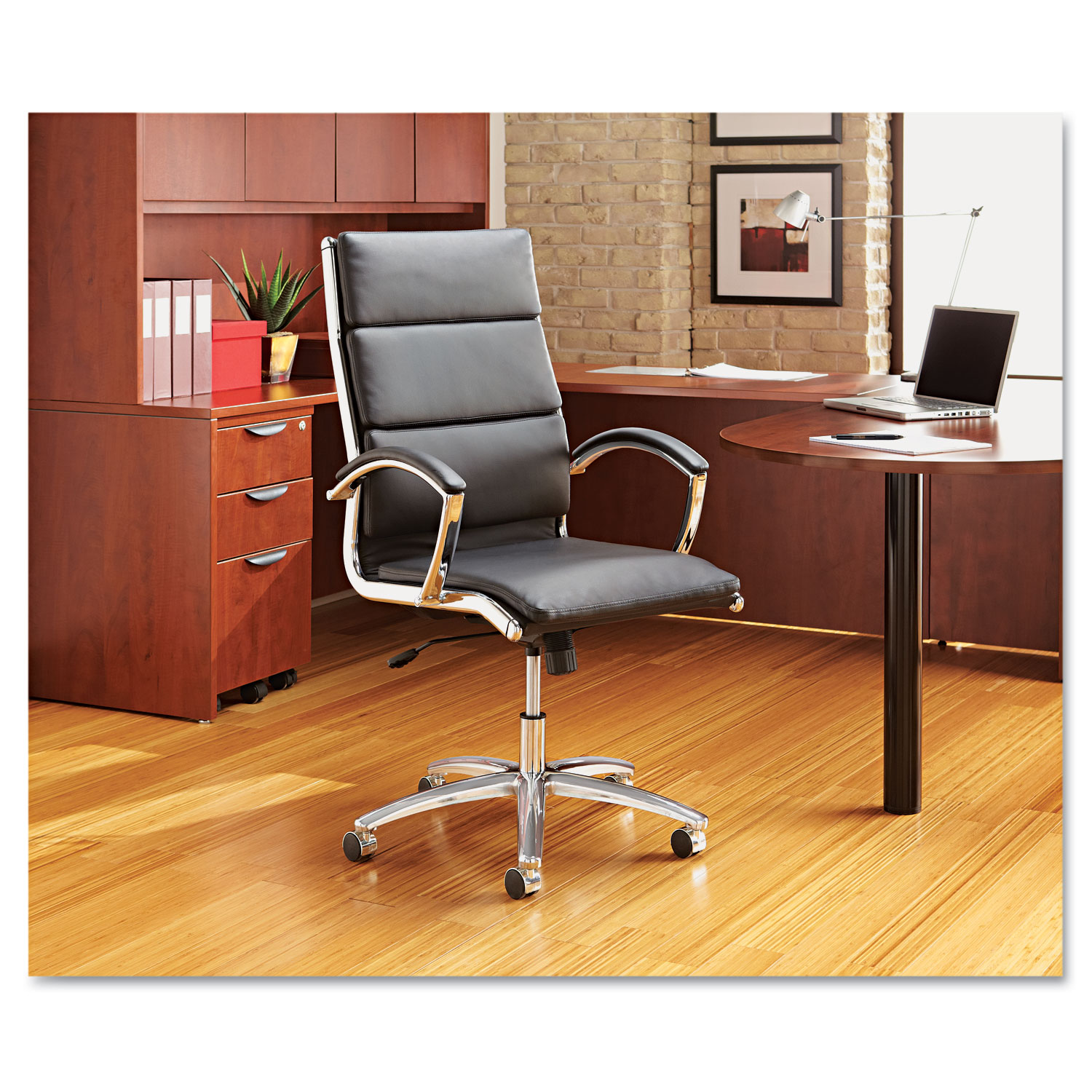 Alera Neratoli Series High Back Swivel/Tilt Chair, Black Leather, Chrome  Frame