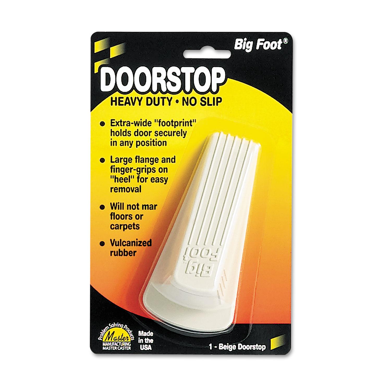 Big Foot Doorstop, No Slip Rubber Wedge, 2.25w x 4.75d x 1.25h, Beige