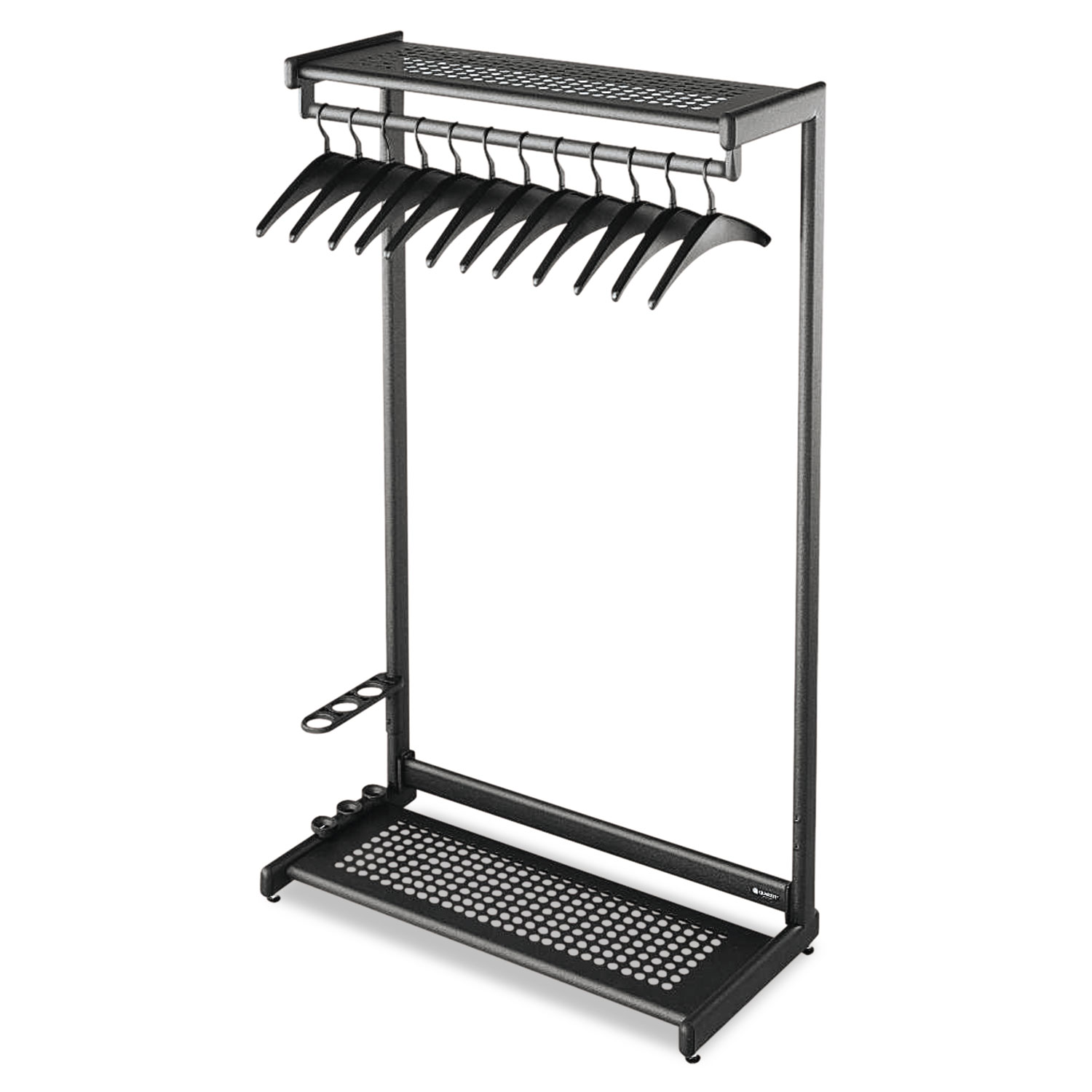 Single-Sided Rack w/Two Shelves, 12 Hangers, Steel, 48w x 18.5d x 61.5h, Black