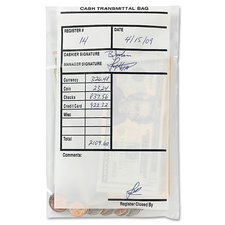 Cash Transmittal Bags, Self-Sealing, 6 x 9, Clear, 500 Bags/Box