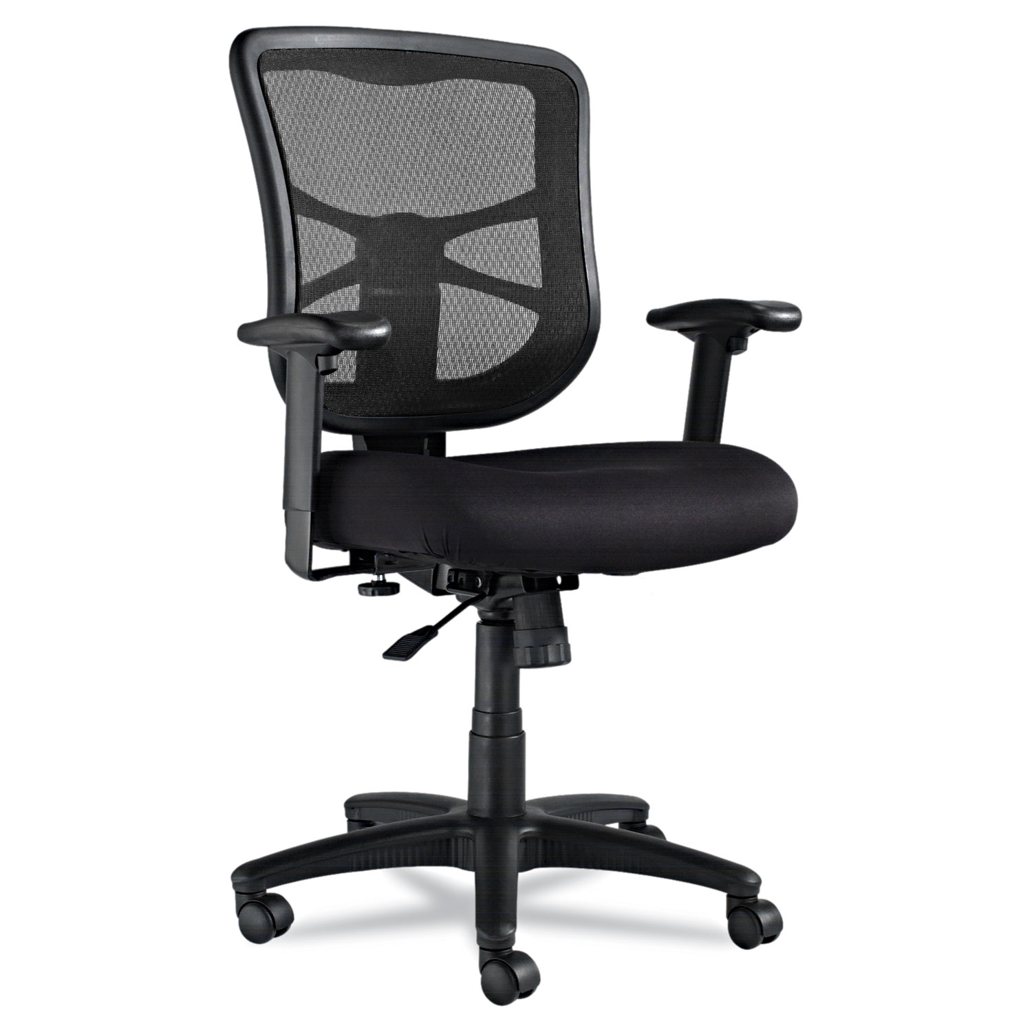 Alera Elusion Series Mesh Mid Back Swivel Tilt Chair Supports Up To 275 Lbs Black Seat Black Back Black Base