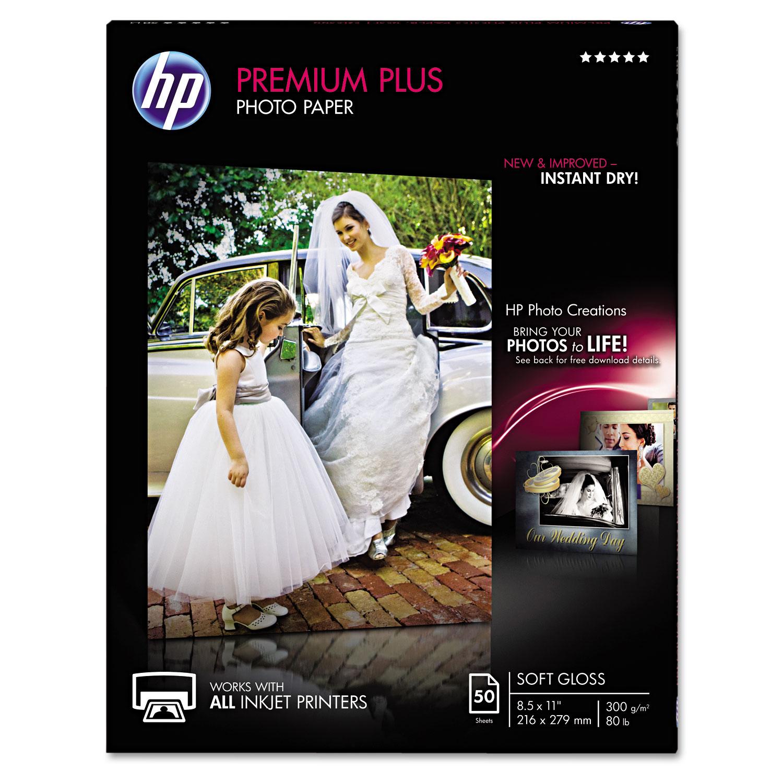 Premium Plus Photo Paper, 11.5 mil, 8.5 x 11, Soft-Gloss White, 50/Pack
