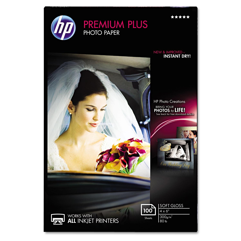 Premium Plus Photo Paper, 11.5 mil, 4 x 6, Soft-Gloss White, 100/Pack