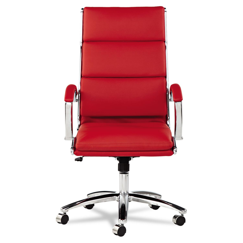 Alera Neratoli Series HighBack Swivel/Tilt Chair, Red Soft Leather, Chrome  Frame