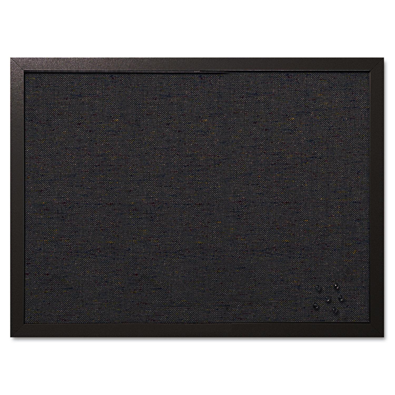 Designer Fabric Bulletin Board, 24 x 18, Black Fabric/Black Frame