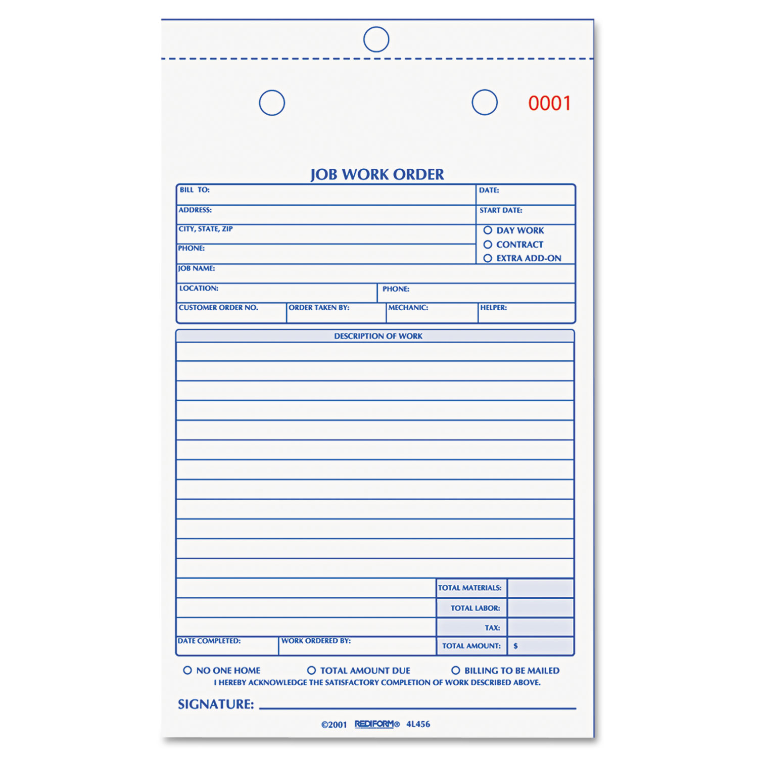 Job Work Order Book, 5 1/2 x 8 1/2, Two Part Carbonless, 50/Book