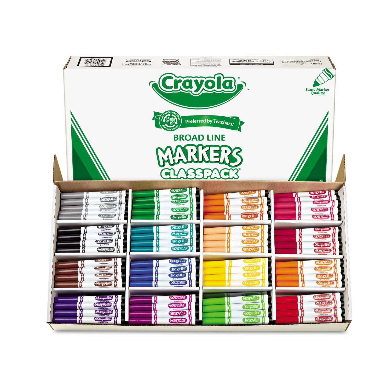 Non-Washable Marker, Broad Bullet Tip, Assorted Colors, 256/Box