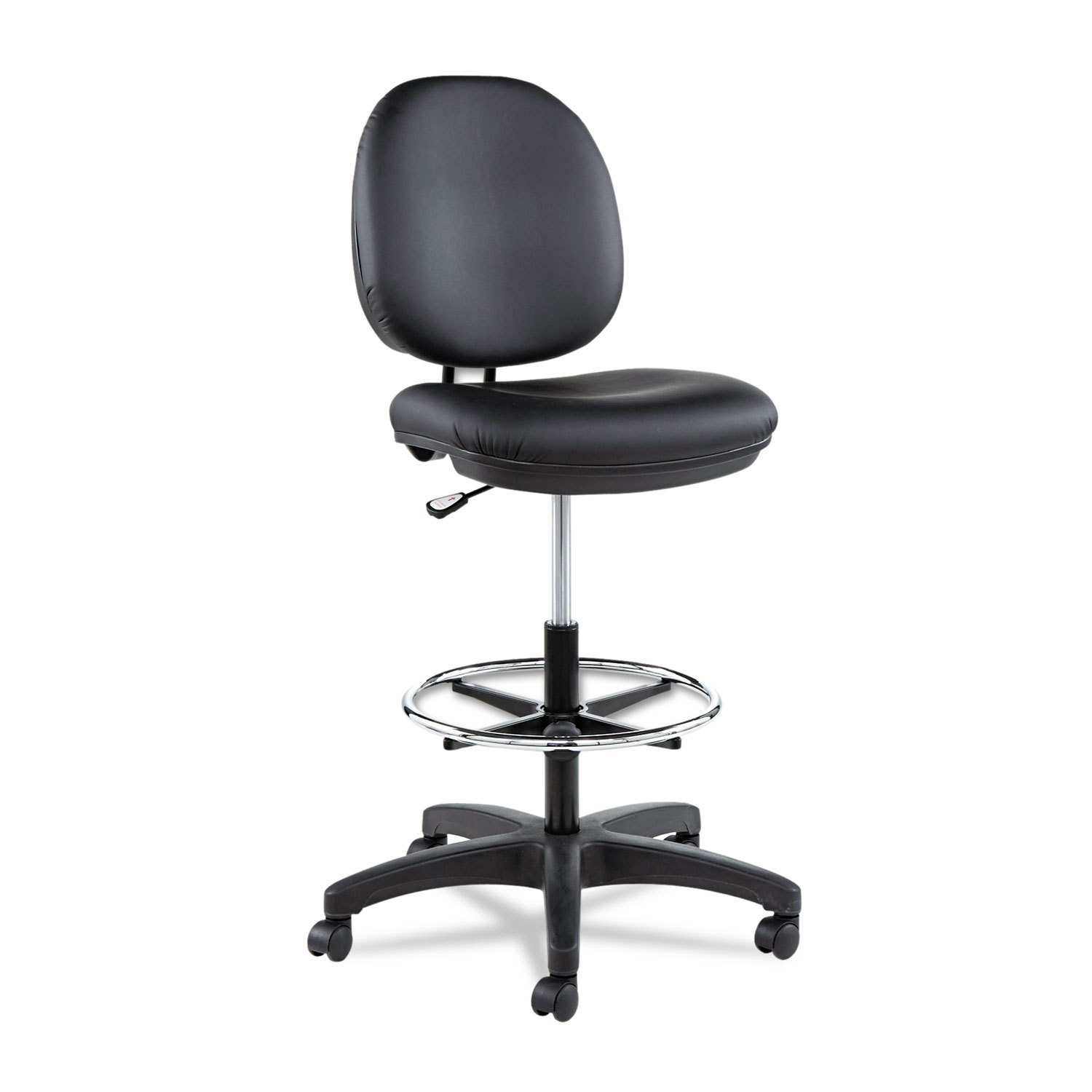 Alera Interval Series Swivel Task Stool Pvc Free Faux Leather Black