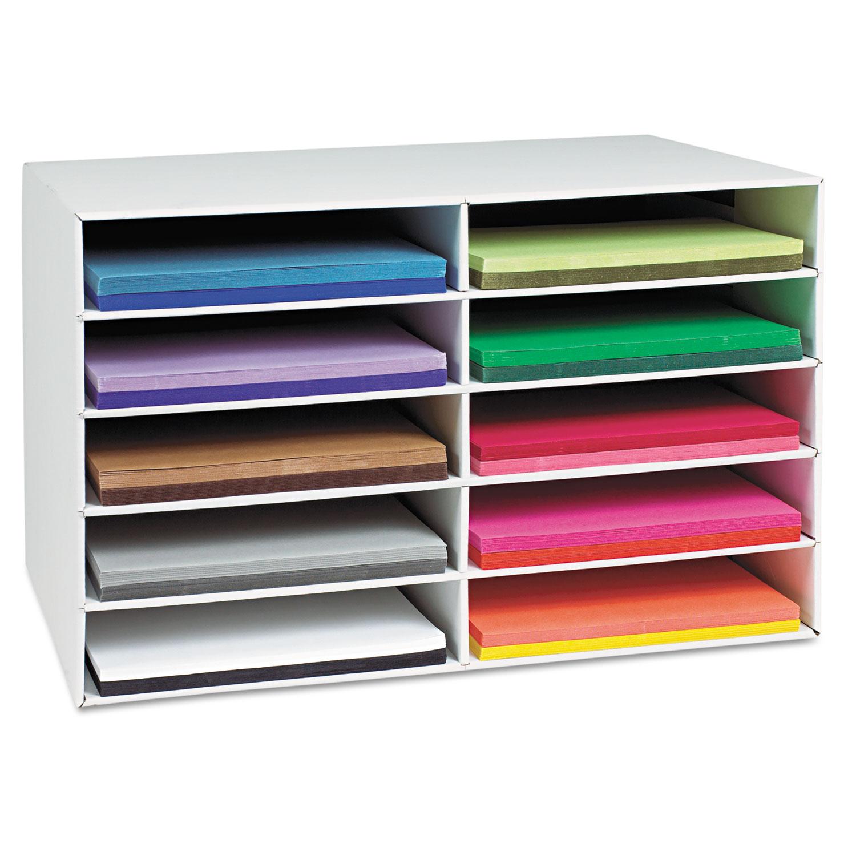 Classroom Construction Paper Storage, 10 Slots, 26 7/8 x 16 7/8 x 18 1/2