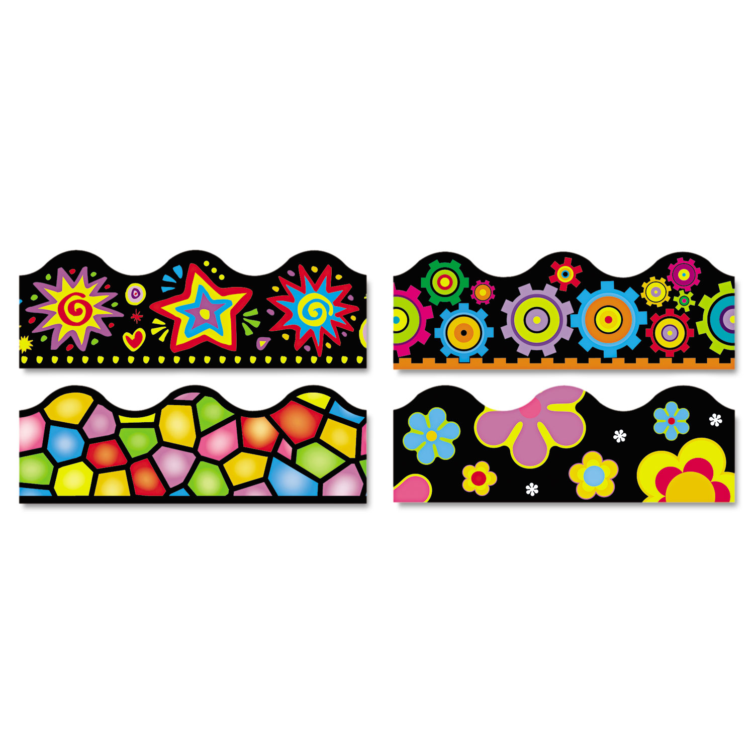 """Terrific Trimmers Border, 2 1/4 x 39"""",  Bright On Black, Assorted, 48/Set"""