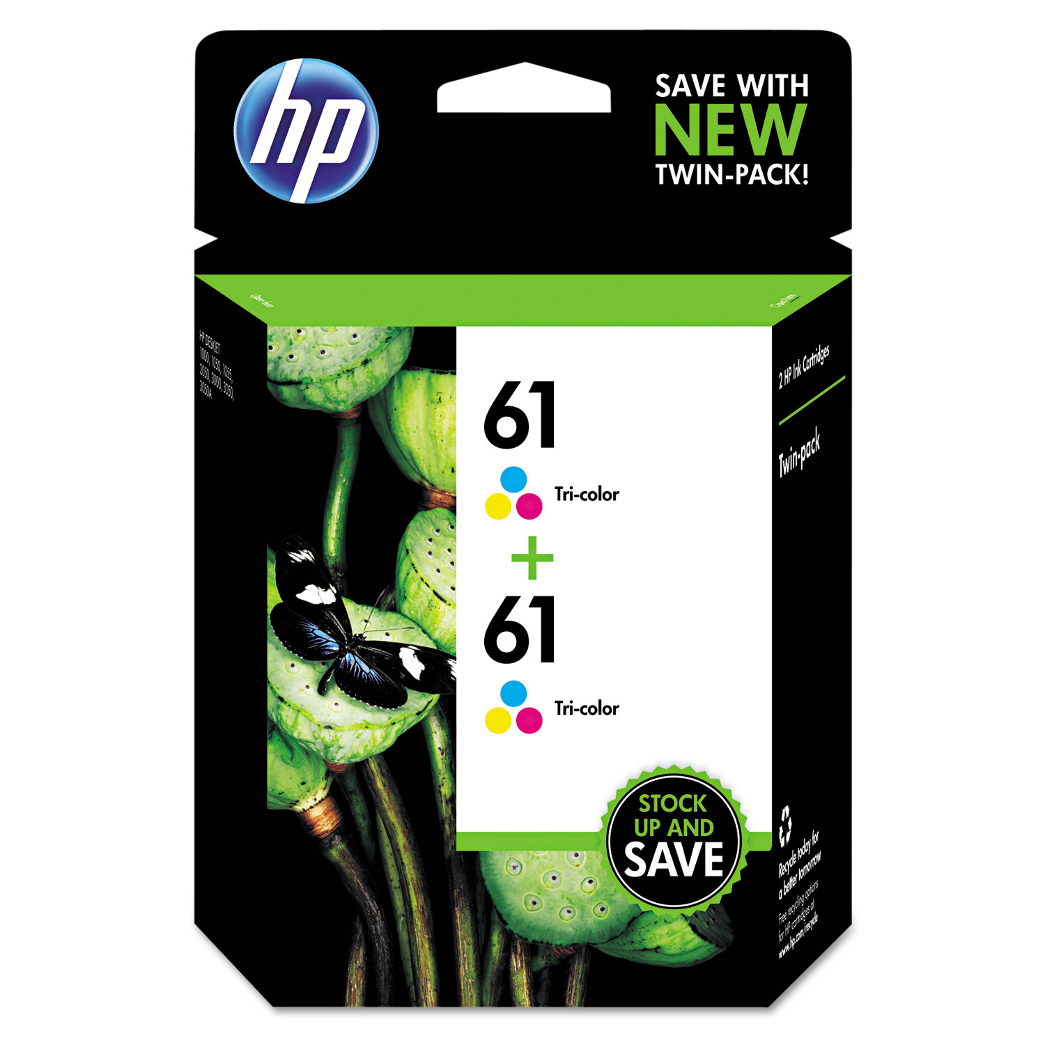 HP 61, CZ074FN 2-pack Tri-color Original Ink Cartridges