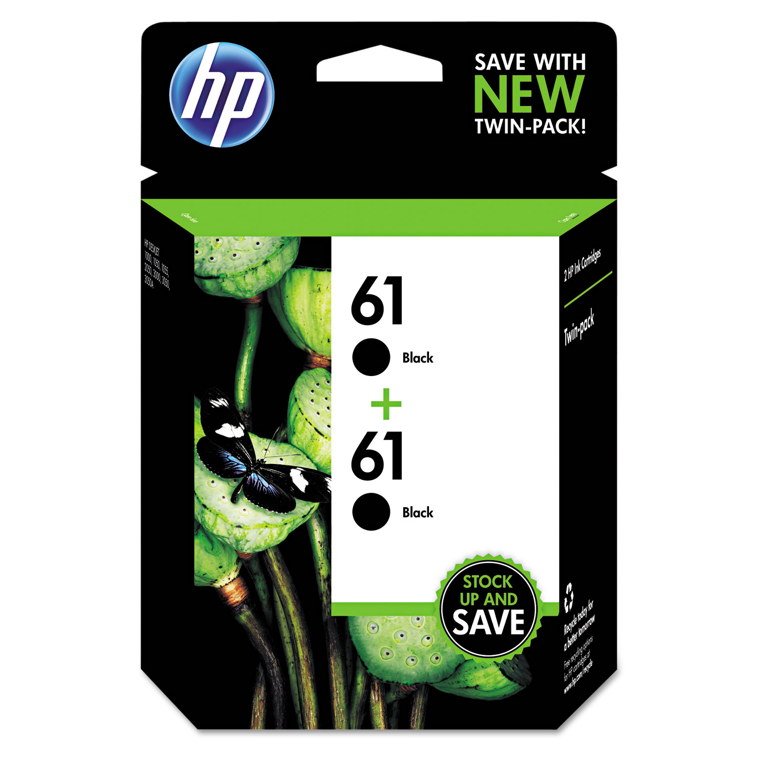 HP 61, CZ073FN 2-pack Black Original Ink Cartridges
