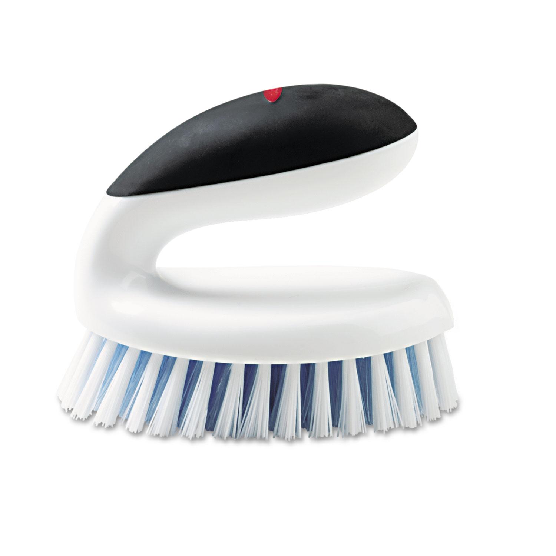 OXO Household Scrub Brush w/Egg-Shaped Handle, 5 x 3 x 4, White/Black Handle