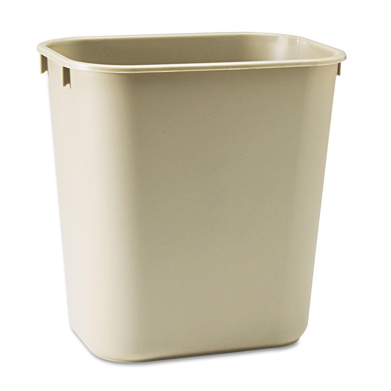 Deskside Plastic Wastebasket, Rectangular, 3.5 gal, Beige