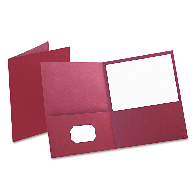 Twin-Pocket Folder, Embossed Leather Grain Paper, Burgundy, 25/Box