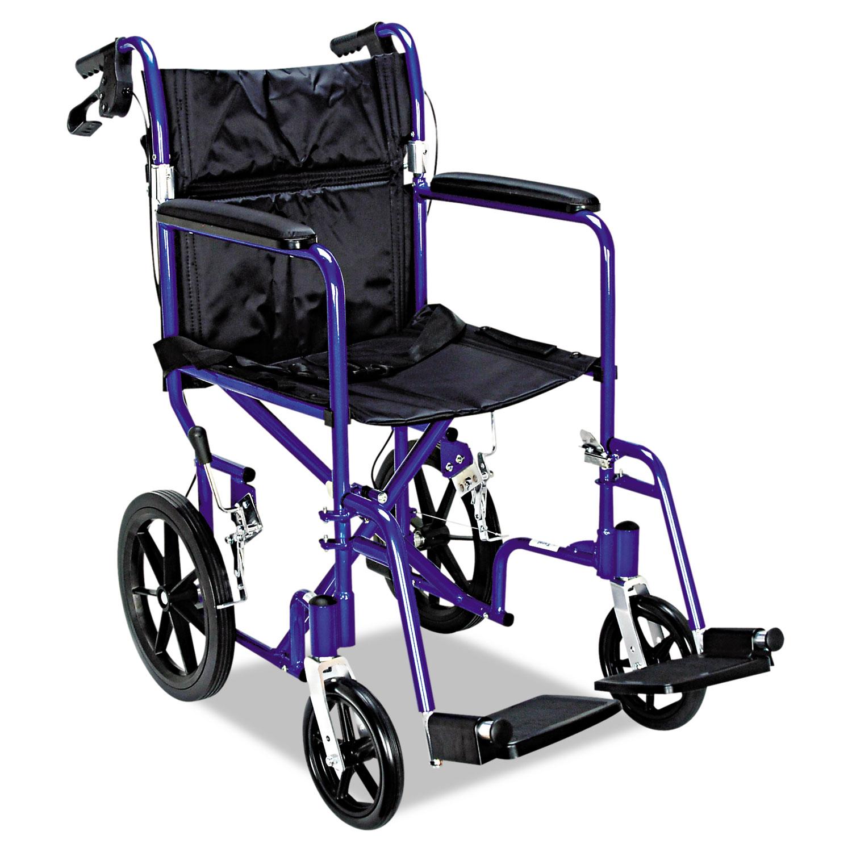 Excel Deluxe Aluminum Transport Wheelchair, 19w x 16d, 300 lb Capacity