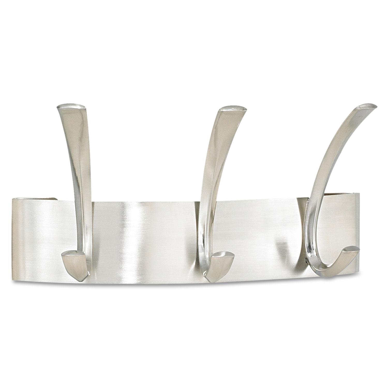 Metal Coat Rack, Steel, Wall Rack, Three Hook, 10.75w x 4.5d x 5.25h, Brushed Nickel
