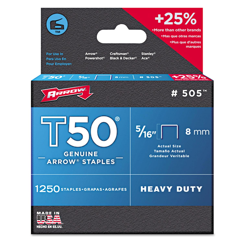 """T50 Heavy Duty Staples, 0.31"""" Leg, 0.38"""" Crown, Steel, 1,250/Pack"""