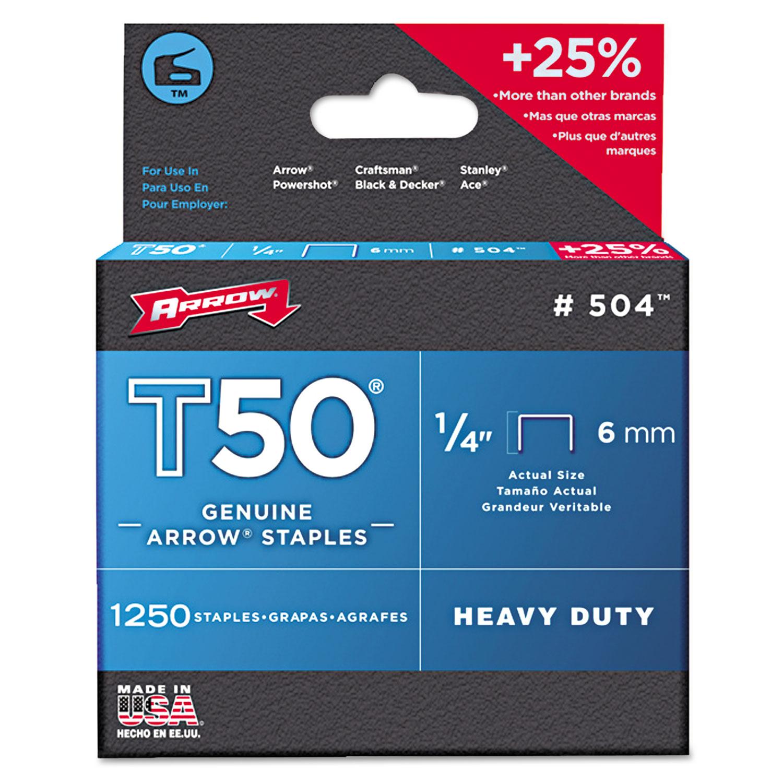 """T50 Heavy Duty Staples, 0.25"""" Leg, 0.38"""" Crown, Steel, 1,250/Pack"""