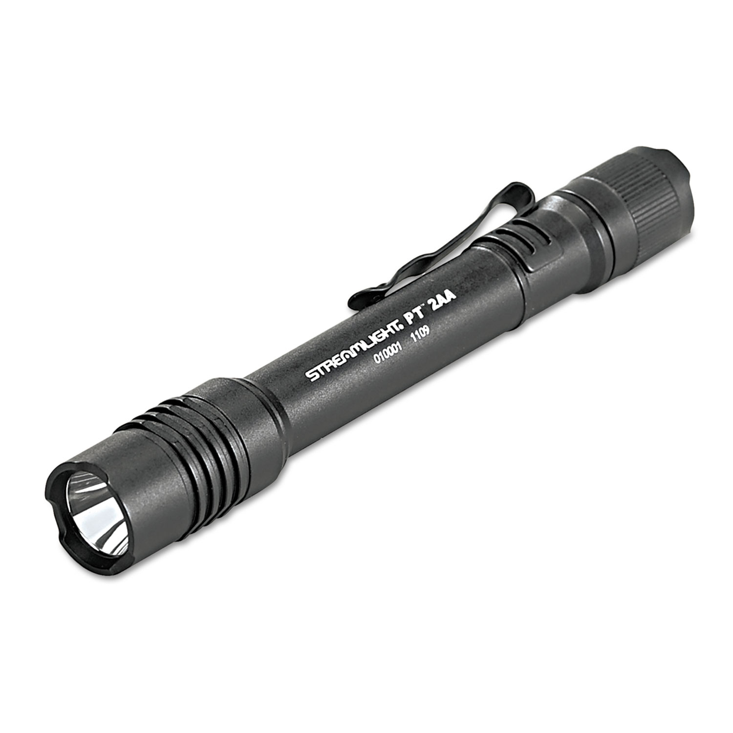 Professional Tactical Flashlight with Holster, 2 AA Batteries (Included), Black