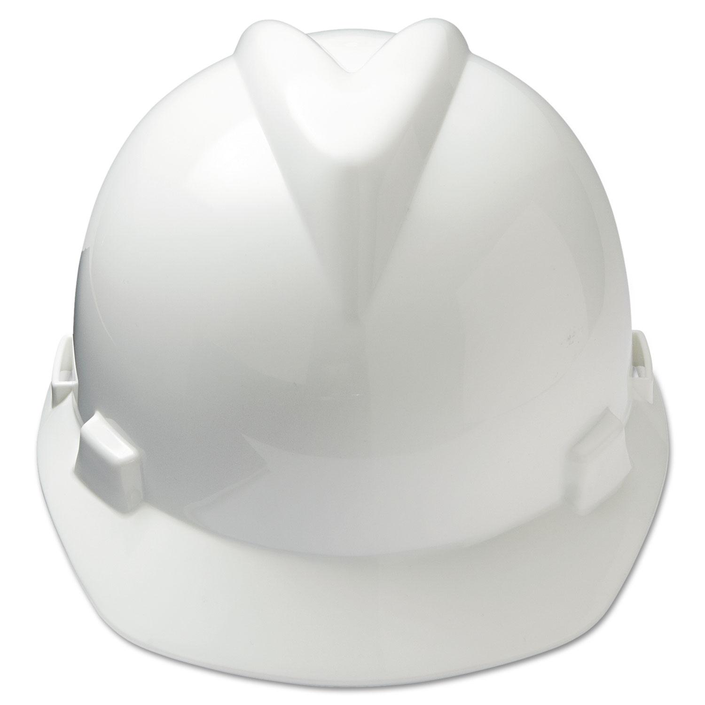 V-Gard Hard Hats w/Ratchet Suspension, Large Size 7 1/2 - 8 1/2, White