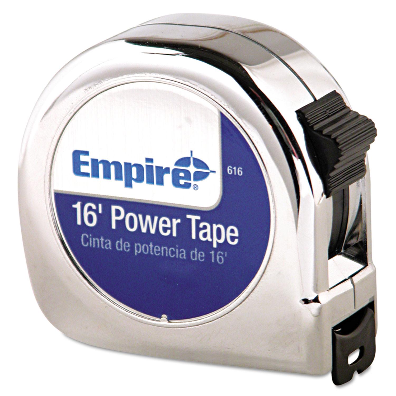 """Power Tape Measure, 3/4"""" x 16ft, Metal Case, Chrome, 1/16"""" Graduation"""