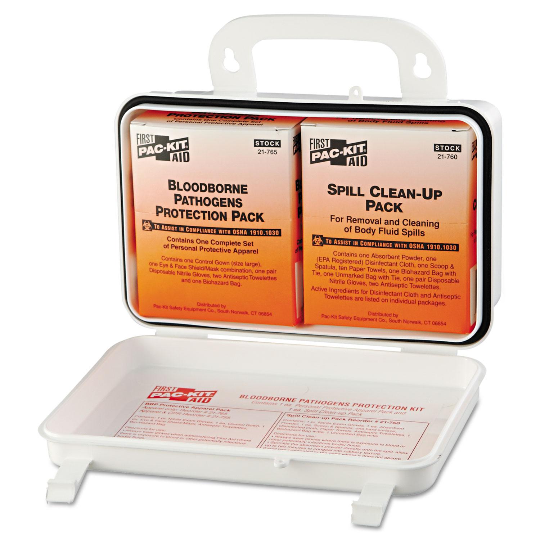 Small Industrial Bloodborne Pathogen Kit, Plastic Case, 4.5H x 7.5W x 2.75D