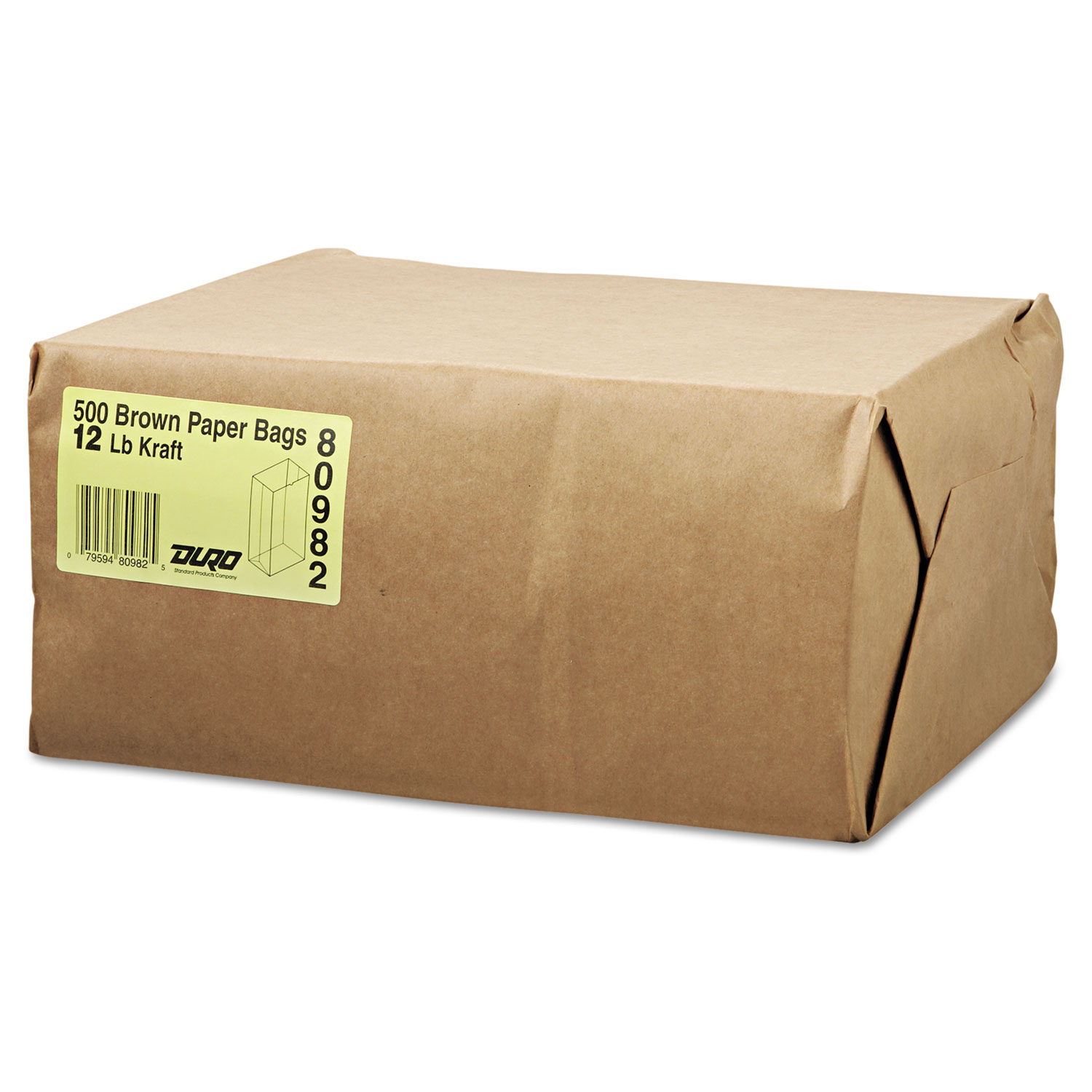 12 Paper Grocery Bag, 40lb Kraft, Standard 7 1/16 x 4 1/2 x 13 3/4