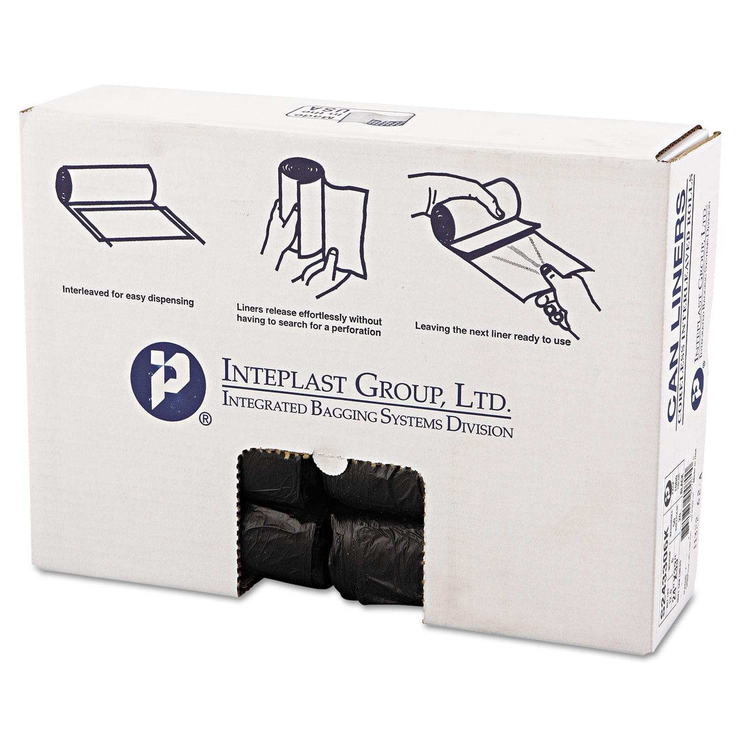 """High-Density Commercial Can Liners, 16 gal, 6 microns, 24"""" x 33"""", Black, 1,000/Carton"""