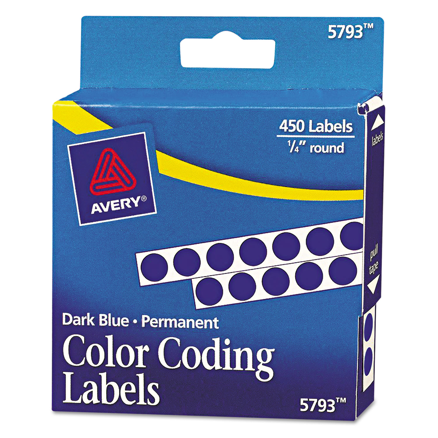 """Handwrite-Only Self-Adhesive Removable Round Color-Coding Labels in Dispensers, 0.25"""" dia., Dark Blue, 450/Roll"""