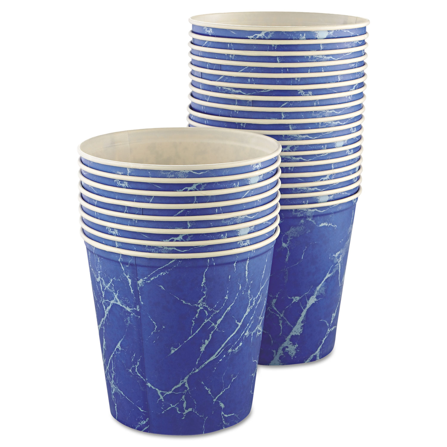 Double Wrapped Paper Bucket, Waxed, Blue Marble, 165oz, 100/Carton