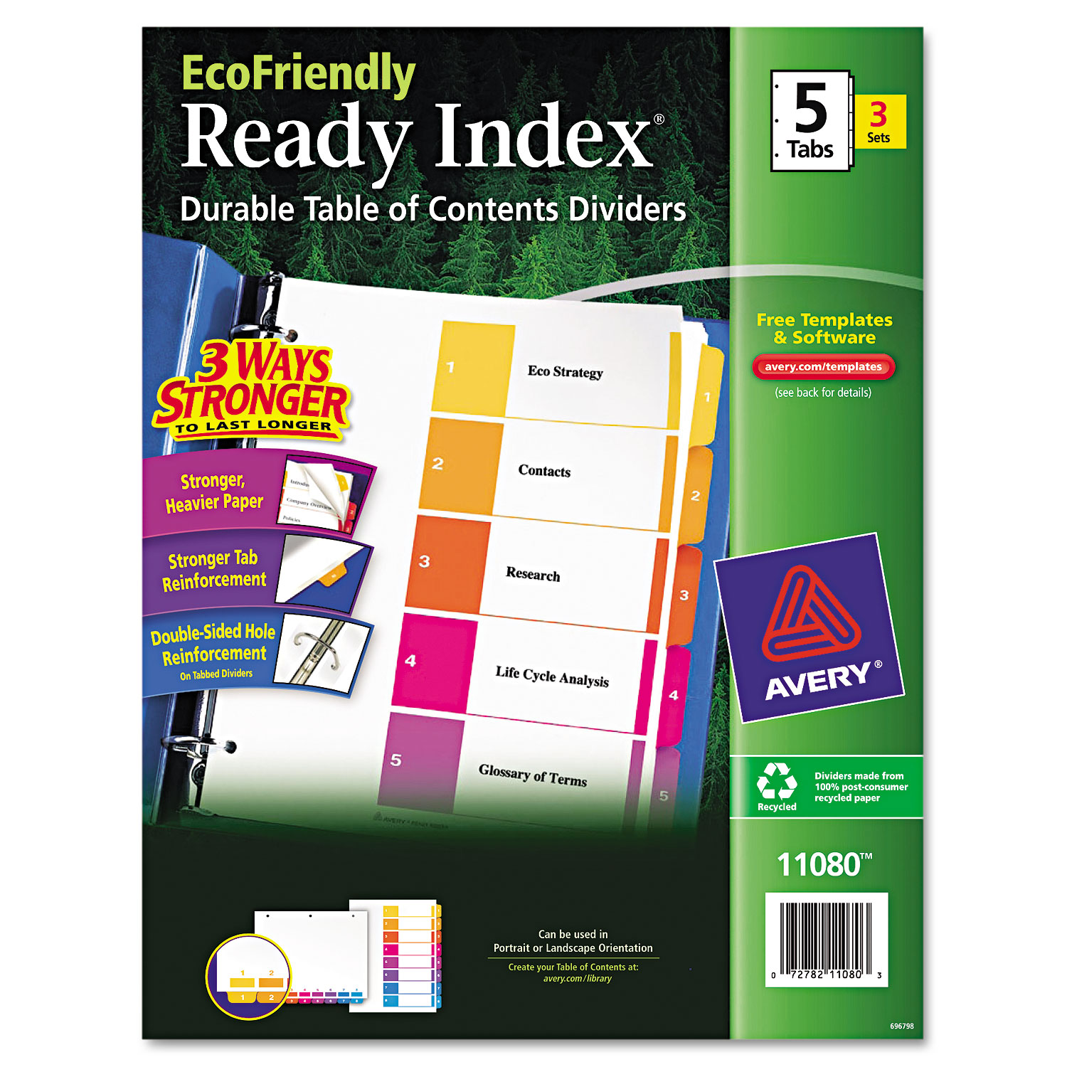 Ready Index Customizable Table Of Contents By Avery Ave11080