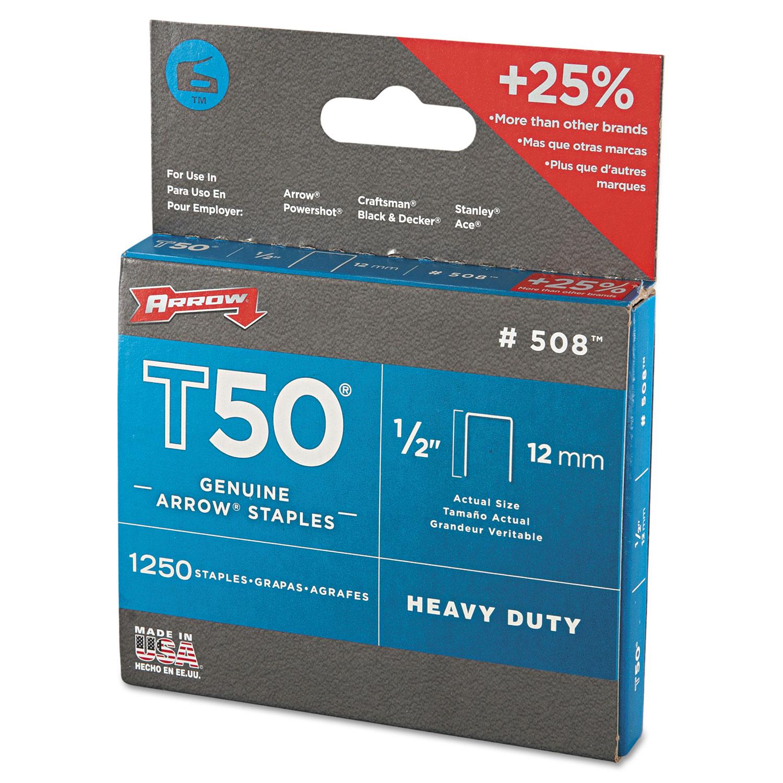 """T50 Heavy Duty Staples, 0.5"""" Leg, 0.38"""" Crown, Steel, 1,250/Pack"""