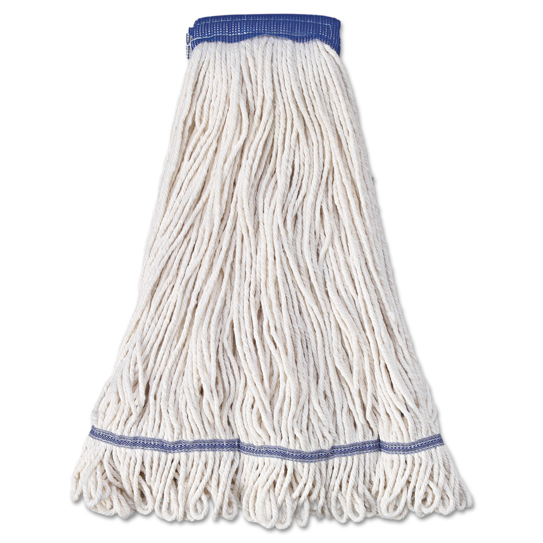 "Super Loop Wet Mop Head, Cotton/Synthetic Fiber, 5"" Headband, X-Large Size, White, 12/Carton"