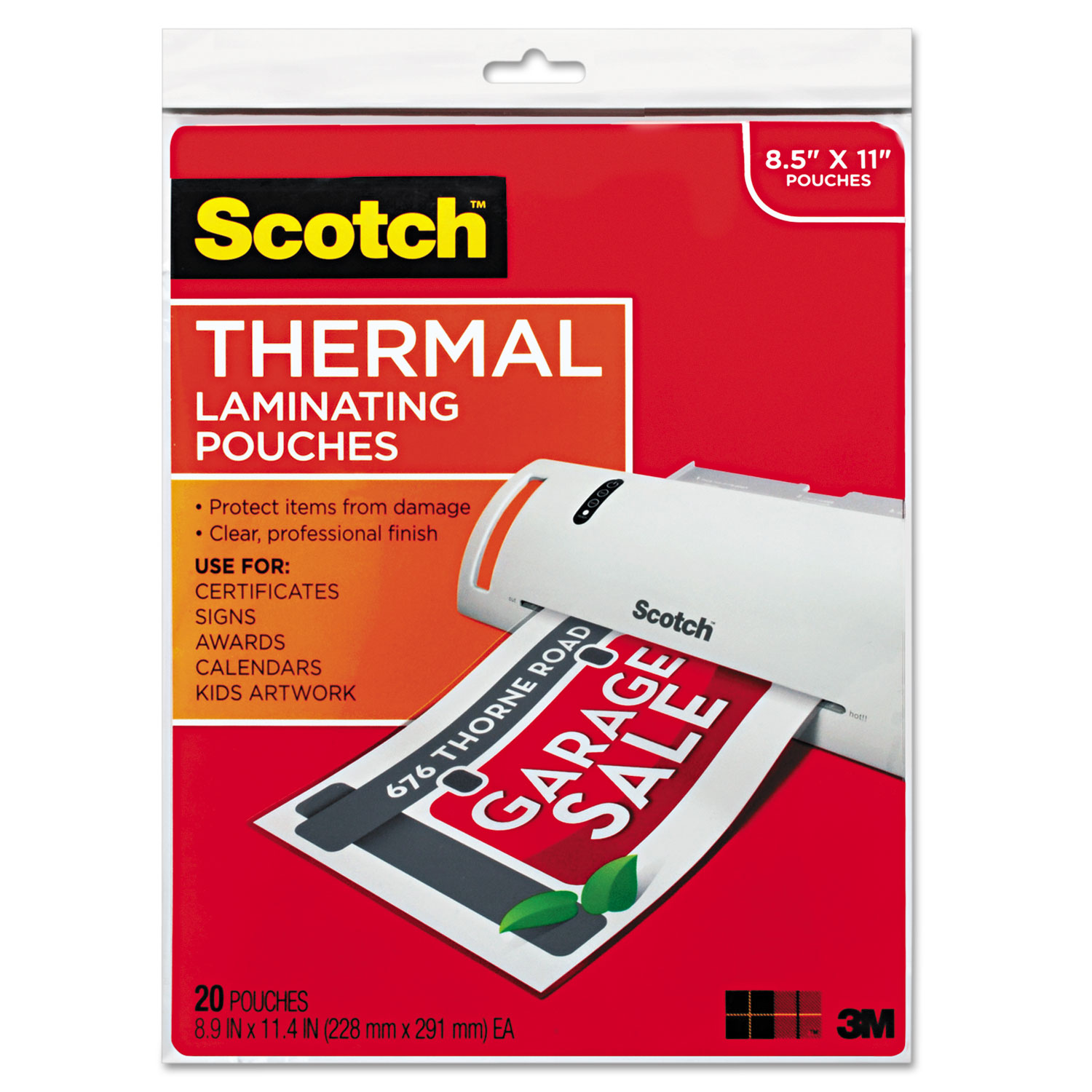 """Laminating Pouches, 3 mil, 9"""" x 11.5"""", Gloss Clear, 20/Pack"""