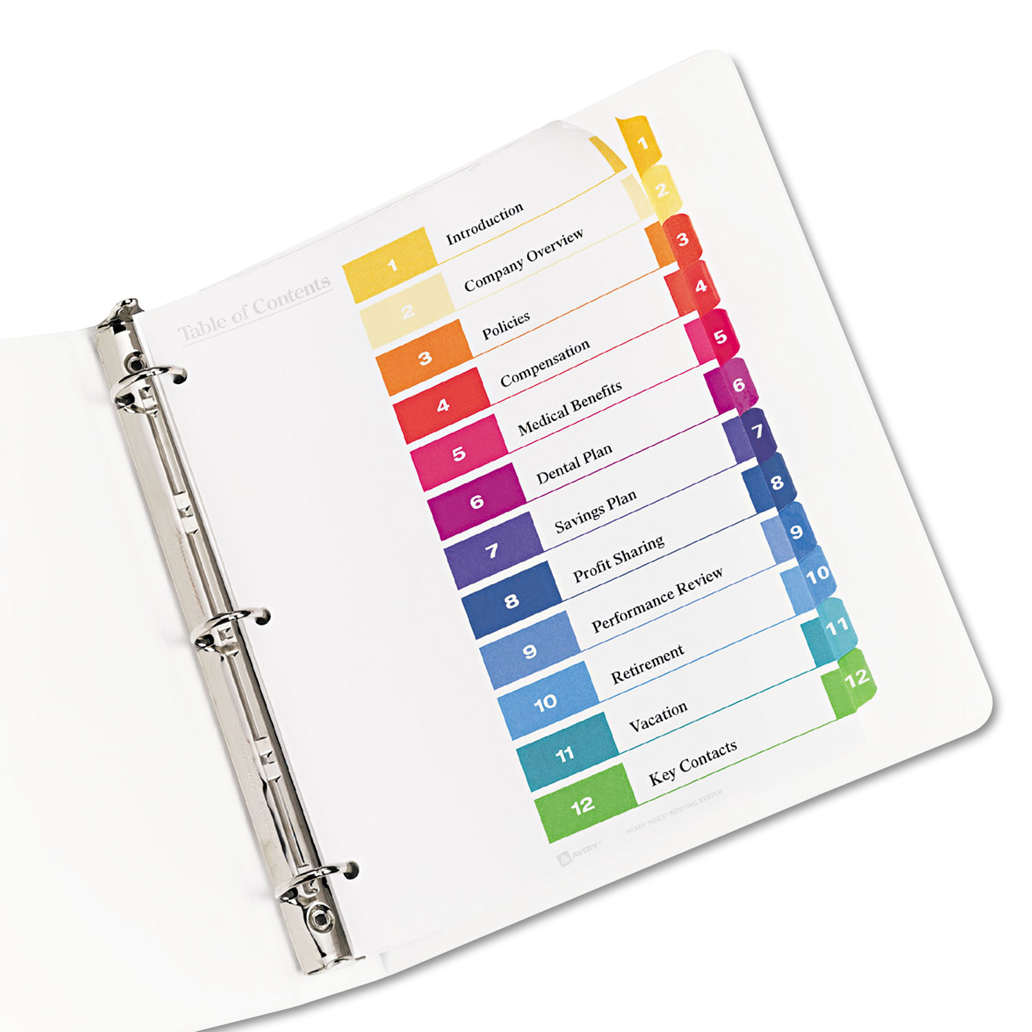 Ready Index Customizable Table of Contents Multicolor Dividers by ...