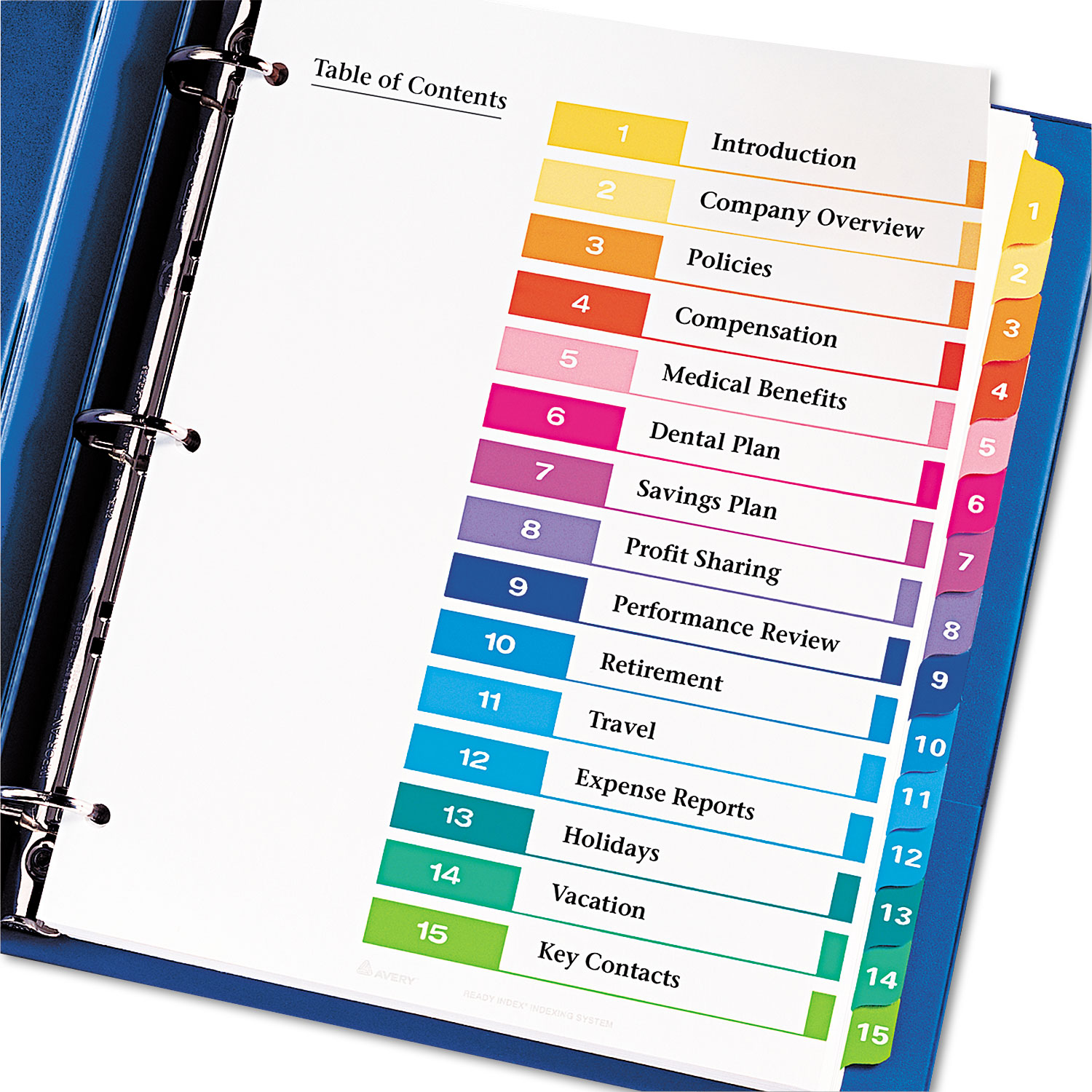 ready index customizable table of contents multicolor dividers by