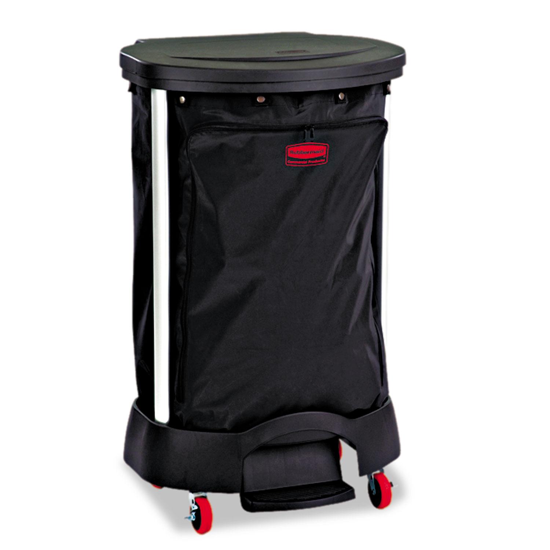 Premium Step-On Linen Hamper Bag, 30 gal, 13.38w x 19.88d x 29.25h, Nylon, Black